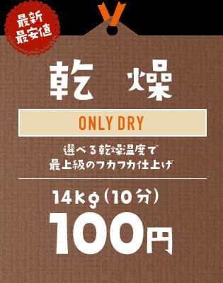 【最新最安値】乾燥:選べる乾燥温度で最上級のフカフカ仕上げ|14kg(9分)100円