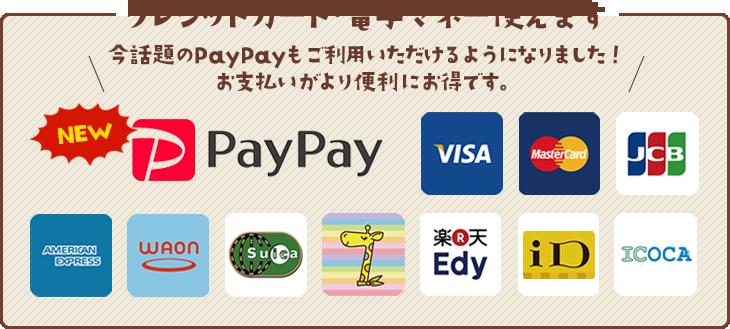 クレジット・電子マネー使えます